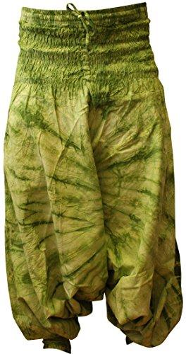 shopoholic FASHION HIPPIE COLORATI tintura a riserva LARGO Harem Pantaloni, Vestibilità larga pantaloni GREEN MIX