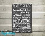 Die besten Freund-Zitat auf Leinwand - canvas print Family Rules, Kunstdruck auf Leinwand, Leinw Bewertungen
