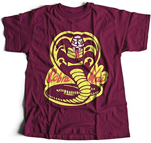 51H1TOwwbqL - Camiseta rojo oscuro con logo de Cobra Kai