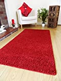 Neue weiche Shaggy-Läufer für das Schlafzimmer, unifarben, waschmaschinenfest, rutschfest, verschiedene Größen, Polyester, rot, 50 x 80 cm