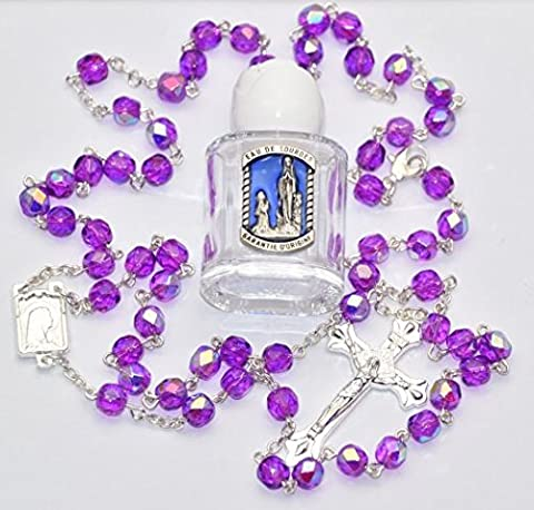 Blessed Bottle of Lourdes Water Prayer Card & Amethyst Rosary Beads FROM LOURDES