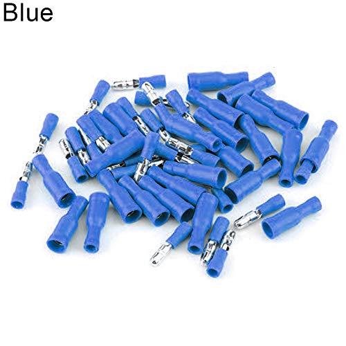Dandeliondeme Terminal Connector, 50 Paar Weiblich und männlich Isolierte Elektrische Steckverbinder Crimp Bullet Terminals Verzinnung Blau -