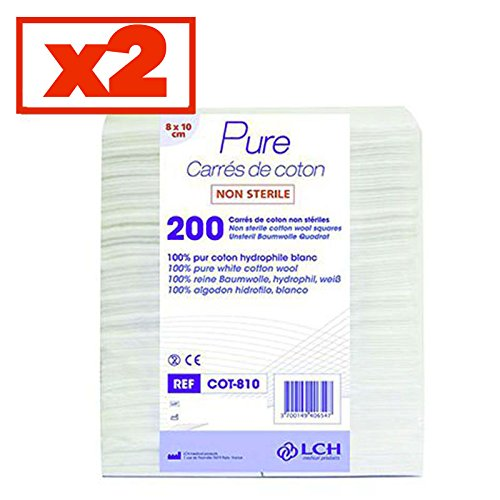 Carrés De Coton 100% Coton Hydrophile Lot De 2 Sachets De 200 Carrés 8 X 10 Cm - Cot-810-2 - By Antigua Health Care