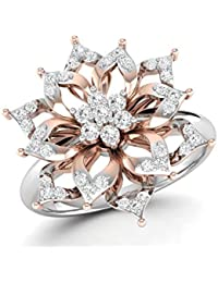 LOLLS Solid 10K Gold 0.25 CT Round Cut Natural Diamond SI HI Flower Designer Engagement Ring [LOLLS_GUR0987_10K]