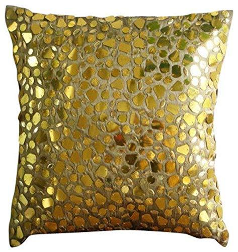 Luxus Gold Kissenbezüge, Mosaik 3D Metallic Pailletten Kissen Decken, 40x40 cm Kissen Fall, Platz Seide Kissen Abdeckungen Für Couch, Geometrisch Zeitgenössisch Kissen Decken - The Gold Mosiac -
