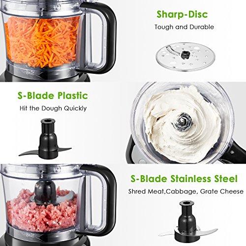 Procesador de Alimentos  Aicok Picadora de Verduras  1.8 Litros Cortador de Verdura Electrico  3 Modos de Velocidad  2 Cuchillas Una para Cortar la Carne y Otra para Hacer Masa  500W  Color Negro
