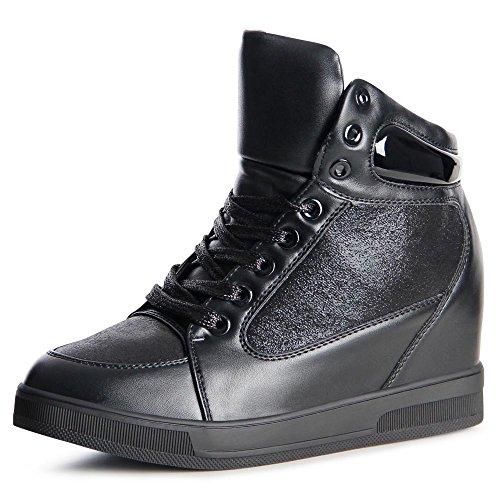 Wedges Schwarz Sneaker Keilabsatz 899 Hidden Topschuhe24 Damen qwZR4
