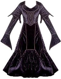 e1ff38b97dce JapanAttitude Robe Renaissance Noire Lacets sur côtés Manches évasées