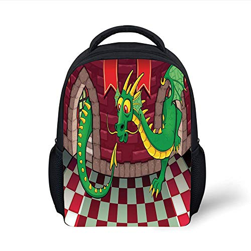 Kids School Backpack Cartoon,Video Game Design Inside The Castle with Dragon Fantasy World Medieval Illustration,Ruby Green Plain Bookbag Travel Daypack Video-harness
