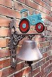 Manufaktur-Lichtbogen Große Wandglocke Traktor blau aus Gusseisen - 37 cm hoch -