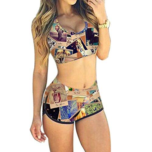 Minetom Damen Sexy Bikini-Sets Zweiteilig Vest Tops Shorts Hohe Taille Push-up Strand Schwimmanzug Padded Swimsuits Badeanzug Beachwear Tiere DE 46 (Tier Drucken Bademode Für Frauen)
