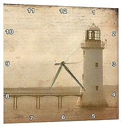 3dRose Lighthouse Grunge by Angelandspot - Wall Clock, 10 by 10-Inch (dpp_11386_1)