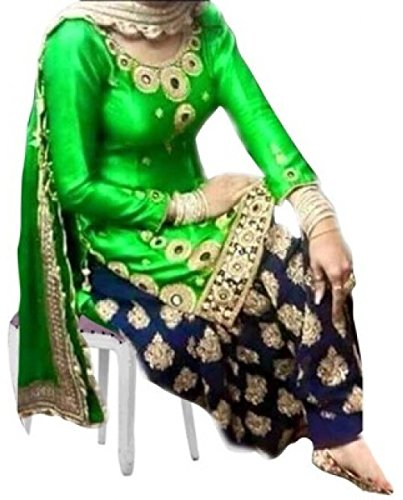 Saiveera Fashion Women\'s Georgette Un-stitched Patiala Salwar Suit ( SV1571_Green_Free Size )