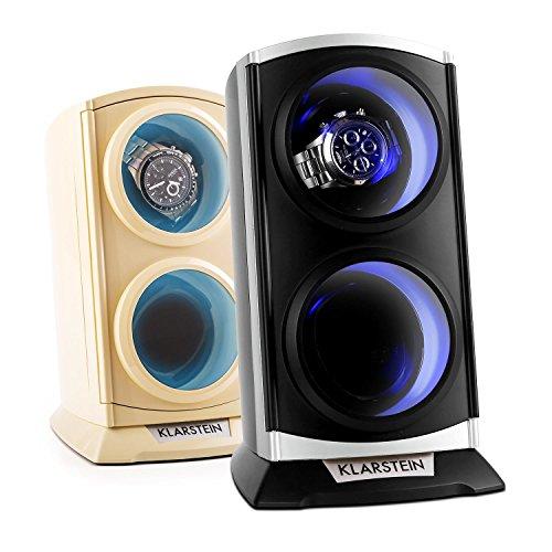 Klarstein St.Gallen Premium Uhrenbeweger vertikale Uhrenbox (für 2 Uhren, LED Beleuchtung, flüsterleise, 4 Rotationsprogramme, 3 Drehmodi) schwarz-blau - 6