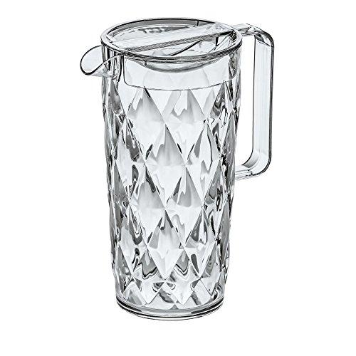 Koziol CRYSTAL - Jarra de plástico con tapa, 1,6 l, efecto cristal,...