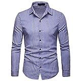 Mode gestreifte Knopf Männer Lange Beiläufige Einfache Revers Langarm-Shirt(Blau,L)
