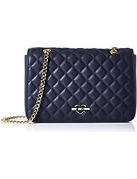 Love Moschino - Borsa Nappa Pu Trapuntata Navy, Shoppers y bolsos de hombro Mujer, Blau (Navy Blue), 18x29x6 cm (W x H D)