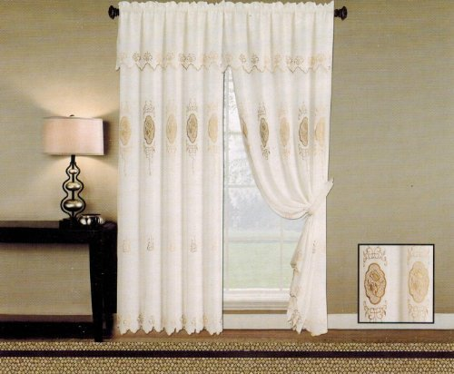 Elegance linen beautiful design jacquard tenda pannelli 139,7x 213,4cm + 18con mantovana, beige