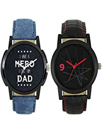 Royal India OverseasNew Stylish And Attractive LM Blue And Black Nice Colour Of 2 Watch For Boys And Men