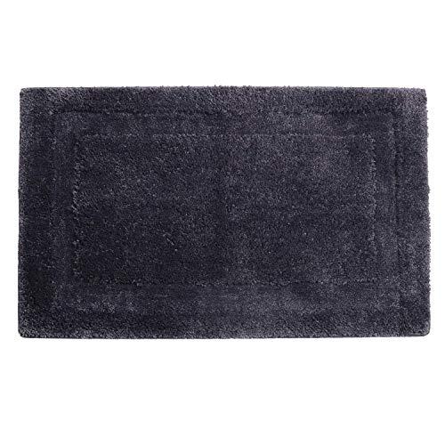 SHACOS Badematte Badezimmerteppich rutschfest Badvorleger Flauschig Waschbar Badteppich Grau,Maße:50x80 cm -