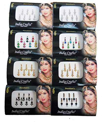 8 Packs- 56 Bindis Combo of Silver/Gold/Black/Multicolored Face Jewels Bollywood tika ...