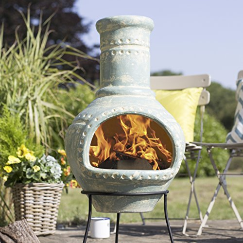 (Free Cover) La Hacienda Lumbre Blue Aqua Large Clay Chiminea Patio Heater