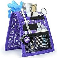 Organizador auxiliar de enfermería | Keen's | Mobiclinic | Para bata o pijama | Diseño exclusivo con estampados en color morado | Amo la enfermería