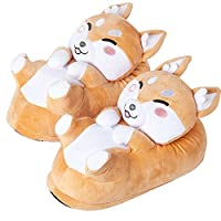 corimori 1847 (Various Animal Designs) Animal Shaped Plush Booties, Carpet Slippers, Shiba Inu the Dog, Beige, Kids One Size UK 8-1
