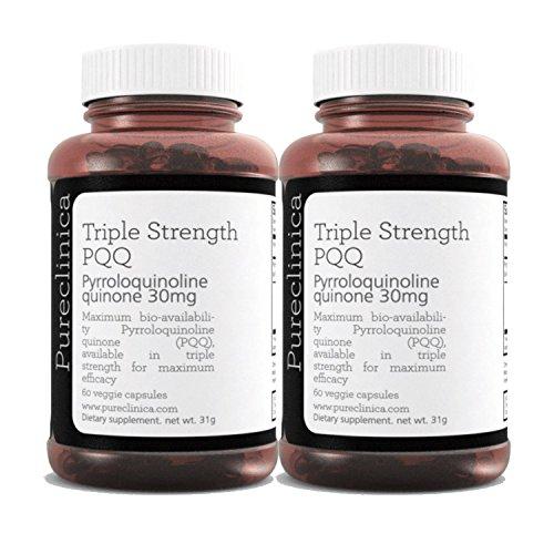 PQQ (Pyrroloquinoline) in dreifacher Stärke - Unglaubliche 120 vegetarische 30mg Kapseln - 300% stärker als die Produkte anderer Anbieter PQQ3x2 -