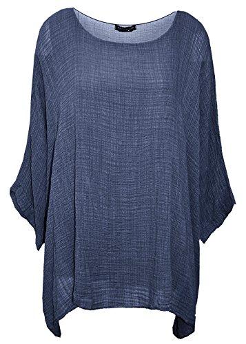 Extras Fashion Débardeur - Manches Chauve-Souris - Uni - Manches Longues - Femme bleu jean