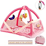 Chinmay Kids® Baby Kick And Play Gym With Mosquito Net And Baby Bedding Set (Pink)