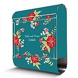 BANJADO Edelstahl Briefkasten mit Zeitungsfach, Design Motivbriefkasten, Briefkasten 38x43,5x12,5cm groß Motiv WT Landhaus Romantik