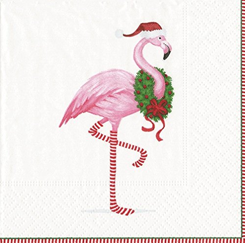 Entertaining with Caspari Cocktail-Servietten, Motiv Flamingo Box of 40 weiß -