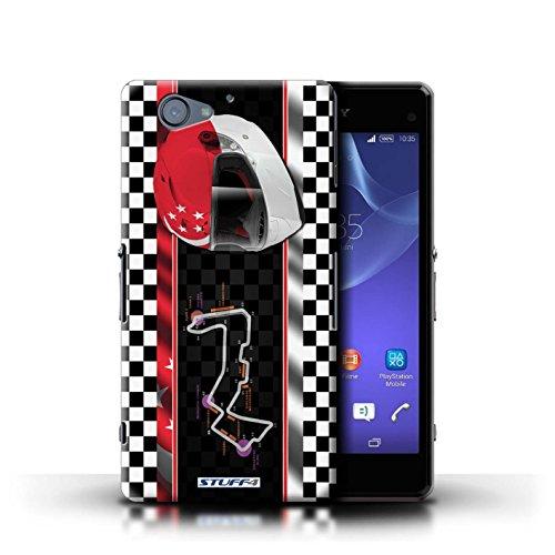 Kobalt® Imprimé Etui / Coque pour Sony Xperia A2 / Malaisie conception / Série F1 Piste Drapeau Singapour