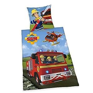 Herding 4670217050 Feuerwehrmann Sam Bettwäsche Bettwäsche-Set, Baumwolle, Mehrfarbig, 135 x 200 cm