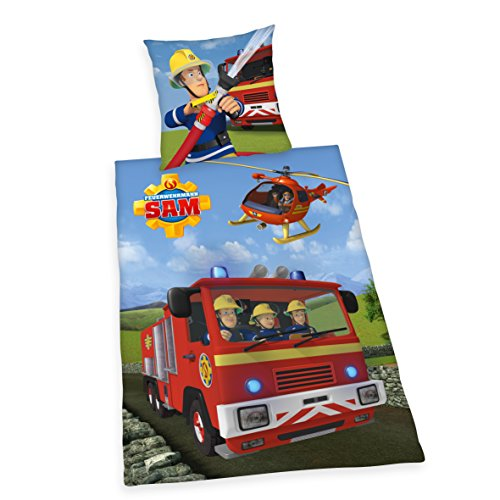 feuerwehrmann sam bettwaesche flanell Herding 4670217050 Feuerwehrmann Sam Bettwäsche Bettwäsche-Set, Baumwolle Flanell, Mehrfarbig, 135 x 200 cm