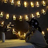 Foto Clips Lichterketten 20 LEDs B-right LED Lichterkette warmweiß 3000K 2.2M Batteriebetrieben Wanddekoration Stimmungsbeleuchtung Dekoration für Hängendes Foto Memos Kunstwerke Gemälde Bilder in Weihnachten