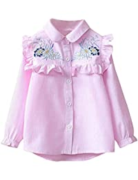 2470a8b87 QUICKLYLY Blusas y Camisas Niña Manga Larga Niñito Raya Bordado Floral