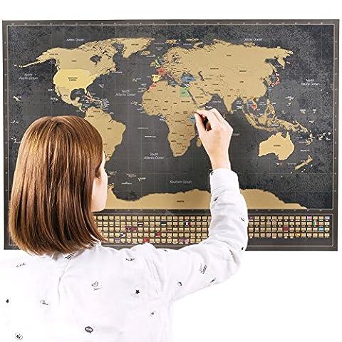 Rubbel Weltkarte mit Fahnen (Deutsch) XXL + BONUS A4 Größe Rubbellandkarte der Deutschland! - Personalisiertes Poster um Reisen zu verfolgen - Zeigen Sie Ihre Abenteuer! | Einzigartiges Design von ENNO VATTI (Schwarz | 84 x 58 cm)