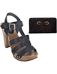 Estatos Pattern Leather Open Toe Buckle Closure Block Wooden Heel Black Gladiator Sandals With Black Clutch For...