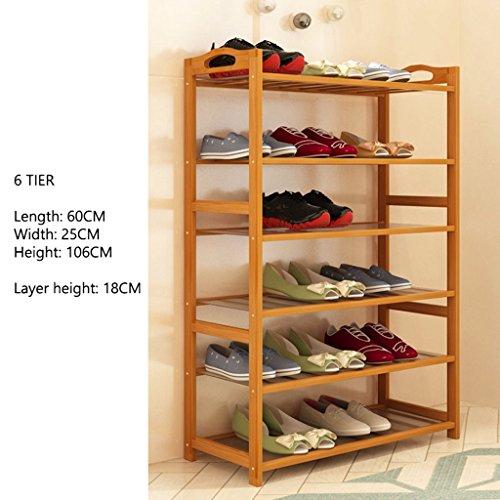 Couloir Chambre À Chaussures Rack en Bambou Support De Rangement 5 À 6 Rangées Étagère Organisateur pour 15 Paires De Chaussures (Taille : 6 Tier)