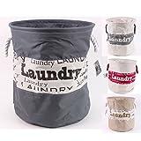 Wäschesack Stoff rund - Wäschetonne in 28 und 40 Liter gefüttert mit Griffen in 4 Farben (28 Liter, Grau / Alt Weiß)