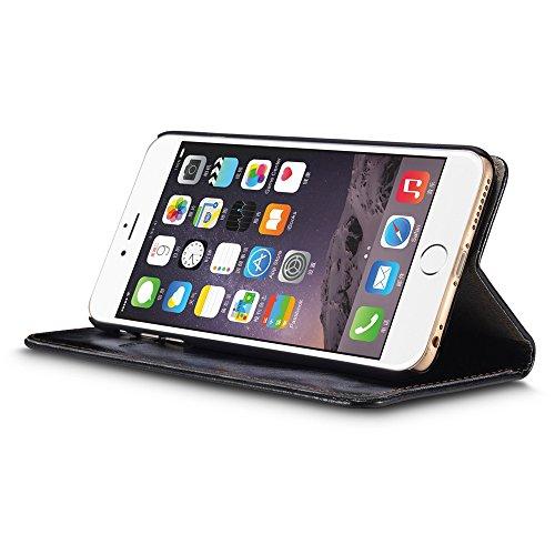 CaseMe Etui Cuir Protection Slim Case Wallet Leather Crazy Horse Coque Magnétique avec Carte pour iPhone 6 plus / iPhone 6s plus Noir