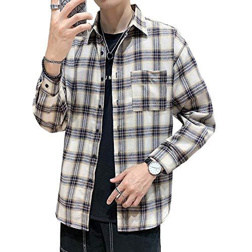 Mikeson Männliches langärmliges neues Hemdflut-Jugendmode-Revershemd der männlichen Studentenoberbekleidung des Plaids,XXXXL
