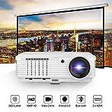 LCD Projektor Full HD Android 6.0 Videobeamer WIFI Bluetooth 3600 Lumen 4500:1 Kontrast unterstützt 1080p HD 720p Full HD Heimkino LED Beamer mit HDMI VGA USB TV kompatibel mit Android iOS Macbook Smartphone DVD TV-BOX Spiele in Weiß