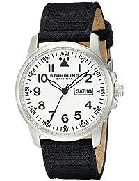 Stuhrling Original Aviator - Reloj de cuarzo, para hombre, con correa de tela, color negro