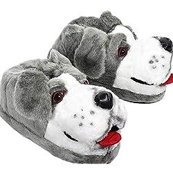 Sleeper'z – Perro pastor – Zapatillas de casa animales originales y divertidas – Adultos y Niños - Hombre y Mujer – S