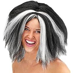 Peluca de bruja, color negro y blanco.