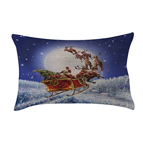 DOGZI Halloween Kissen Bettwäsche Weihnachten Sofa Dekokissen Kissen Weihnachten - Weihnachten Sofa Bett Dekoration Festival Kissenbezug Kissenbezug (20x12 zoll) (Quadrat Bett, Kissen)