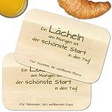 Frühstücksbrettchen – 2er Set mit Gravur Lächeln am Morgen - Mama Papa – Personalisiert mit Namen